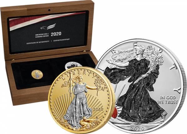 1 Dollar + 10 Dollars USA American Eagle Diamond Edition 2020