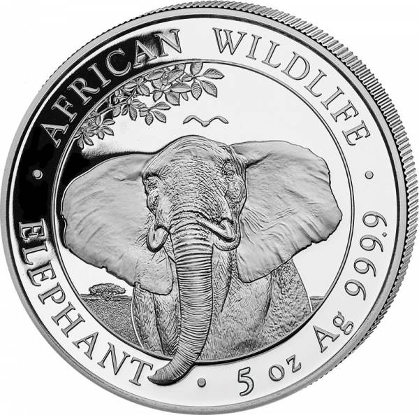 5 Unzen Silber Somalia Elefant 2021