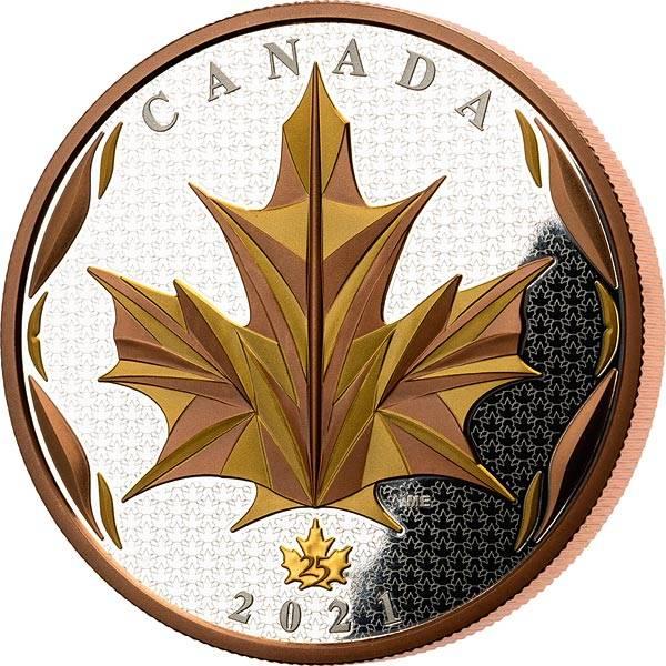 50 Dollars Kanada Maple Leaf 2021 mit Rose- und Gold-Applikation