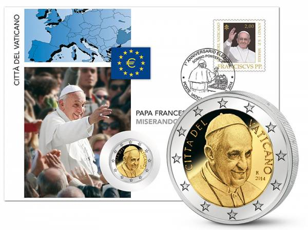 2 Euro Numisbrief Vatikan Papst Franziskus 2014 prägefrisch