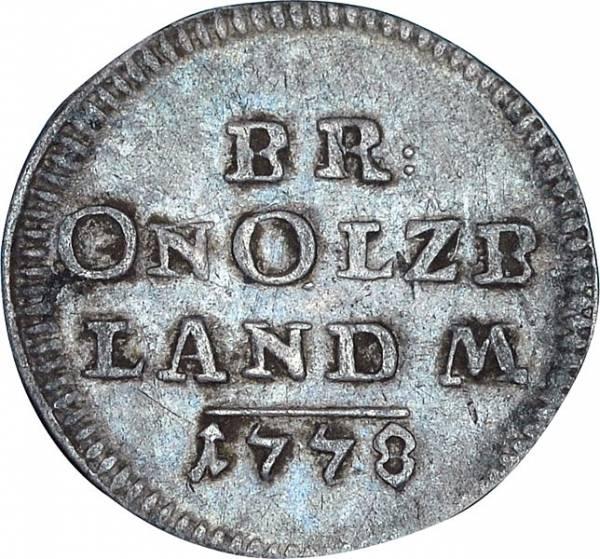 2 1/2 Kreuzer Brandenburg-Ansbach Markgraf Karl Alexander 1766 - 1779