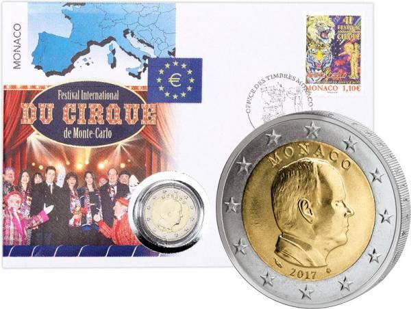 2 Euro Numisbrief Monaco 41. Internationales Zirkusfestival von Monte-Carlo 2017