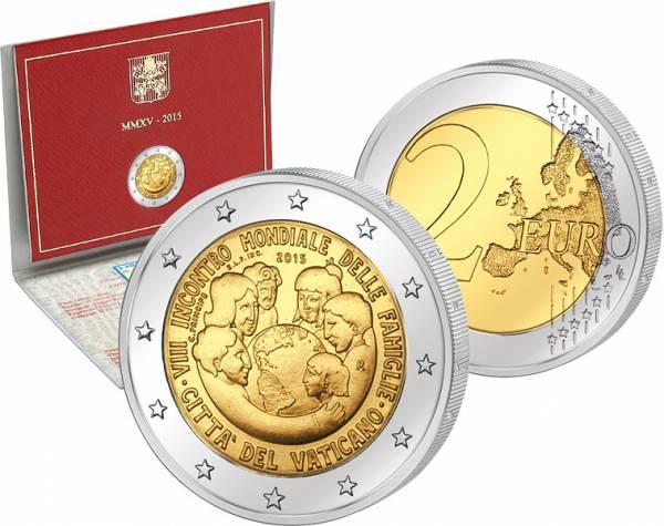 2 Euro Vatikan Ersttagsedition 8. Weltfamilientreffen 2015 Stempelglanz