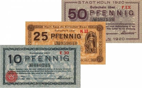 10 + 25 + 50 Pfennig Notgeld-Serie Köln 1920