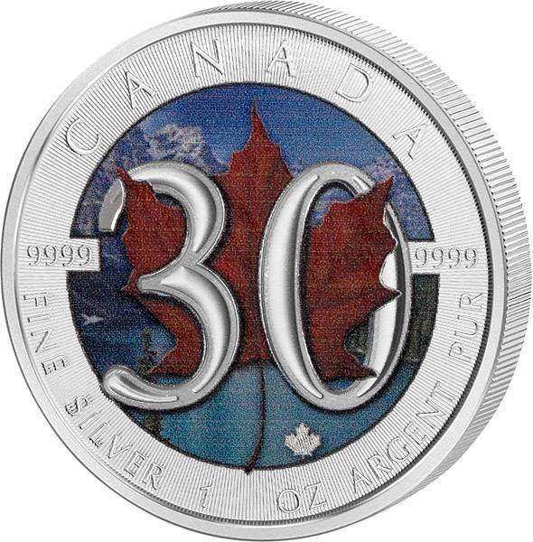 1 Unze Silber Kanada Maple Leaf 30. Jahrestag 2018 mit Farb-Applikation