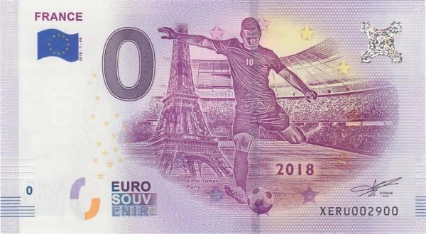 0-Euro-Banknote WM 2018 Frankreich 2018