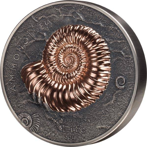 1 Kilo Silber Mongolei Evolution des Lebens Ammonite 2018