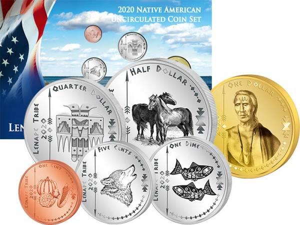 1 Cent - 1 Dollar Kursmünzensatz USA Kursmünzen der Lenape 2020
