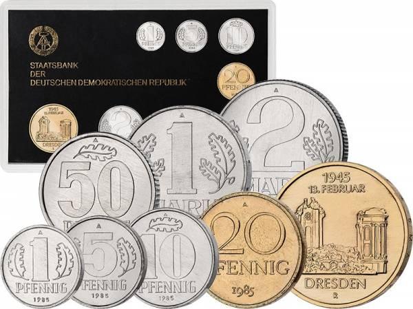 1 Pfennig - 5 Mark Kursmünzensatz DDR 1985