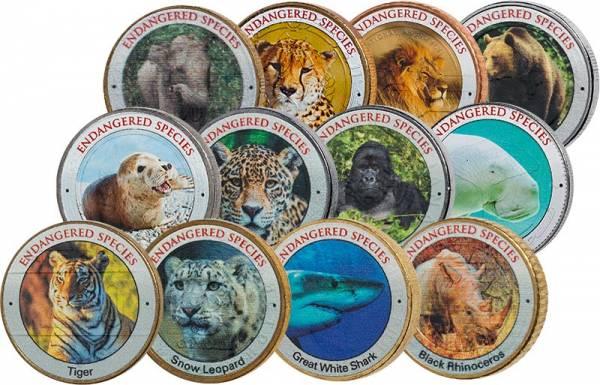 12er-Set Münzen mit Motiven von Aussterben bedrohter Tiere