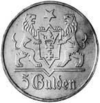 5 Gulden Dazig stilisierte Marienkirche 1923-1927 Sehr schön