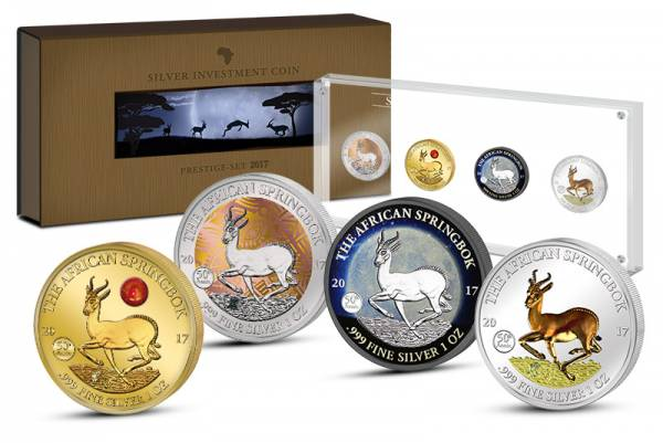 Silver Investment Coin Prestige-Set Springbock 2017
