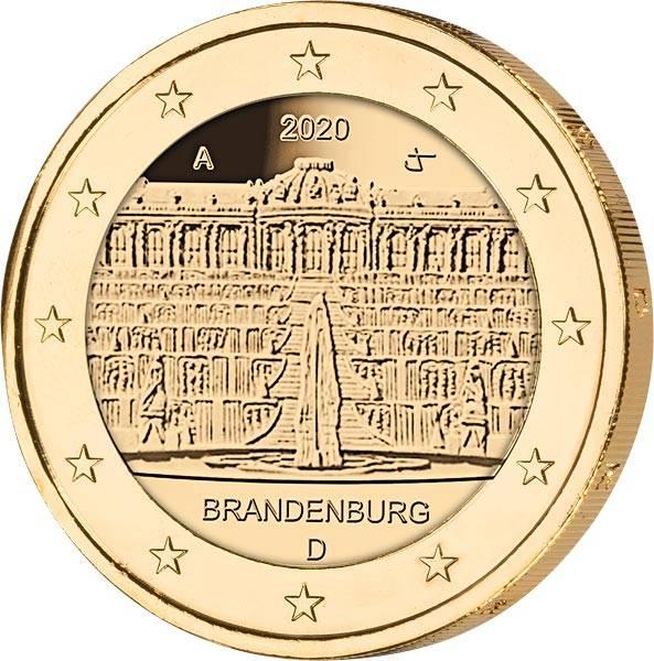 2 Euro BRD Brandenburg Sanssouci 2020 vollvergoldet