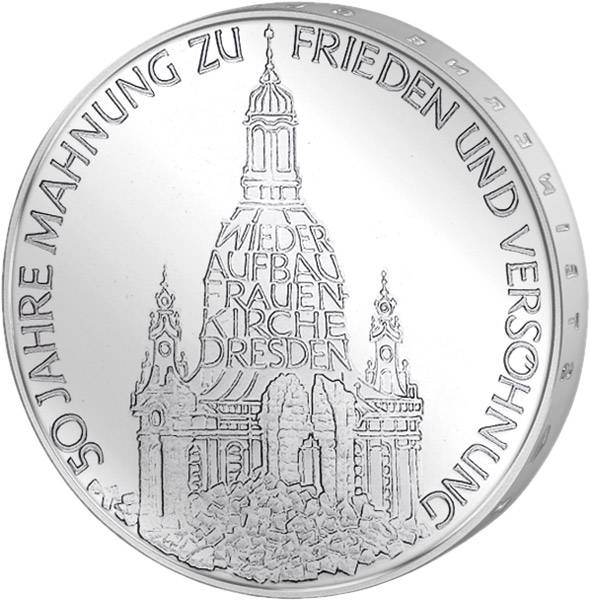 10 DM Münze BRD Frauenkirche Dresden 1995
