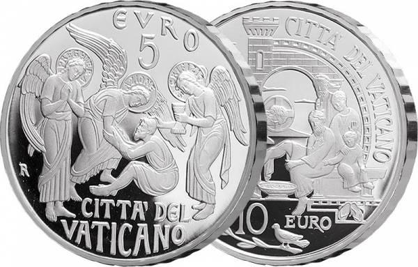 5 + 10 Euro Vatikan 150 Jahre Circulo San Pietro und 52. Weltfriedenstag 2019
