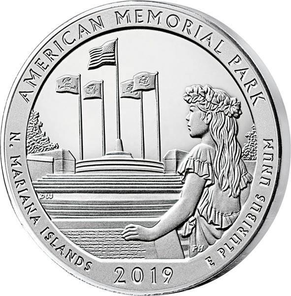 5 Unzen Silber USA Nördliche Marianen American Memorial Park 2019