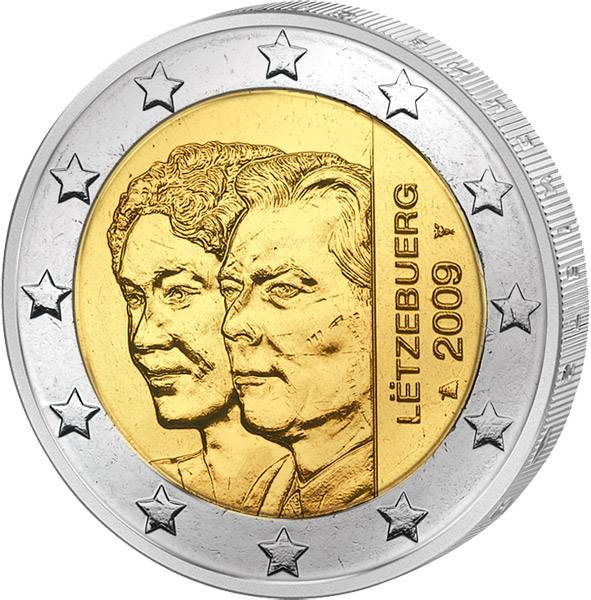 2 Euro Luxemburg 90 Jahre Thronbesteigung Großherzogin Charlotte 2009 prägefrisch