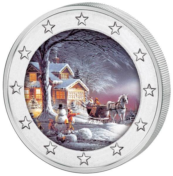 2 Euro BRD mit Farb-Applikation Weihnachten 2017
