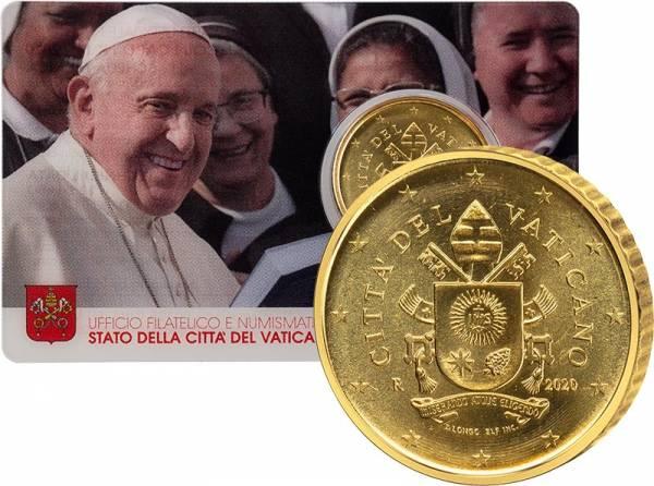50 Cent Vatikan Papst Franziskus Coin Card 2020