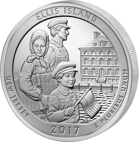 Quarter Dollar 25 Cents USA New Jersey Ellis Island 2017