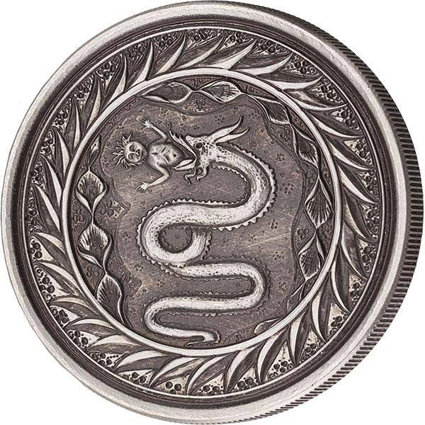 1 Unze Silber Samoa Schlange von Mailand 2020 Antik-Finish