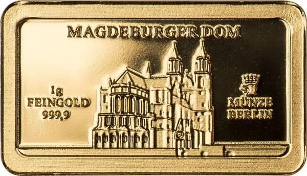 1 Gramm Goldbarren Deutsche Wahrzeichen Magdeburger Dom