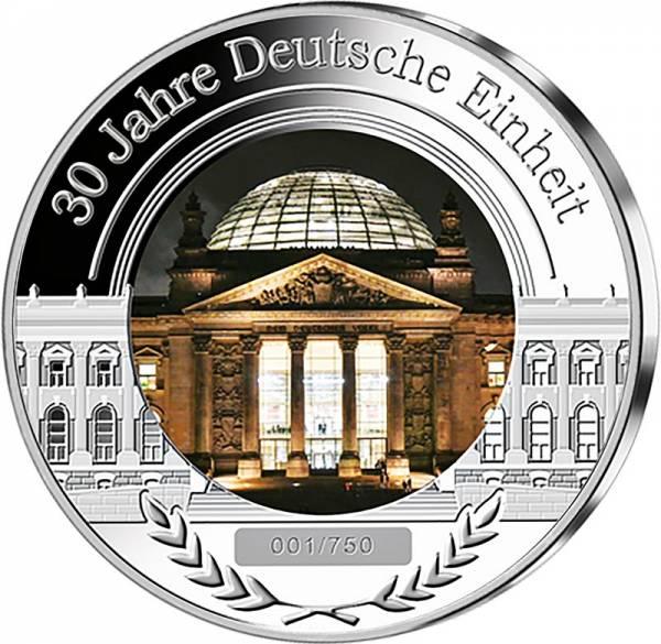Gedenkprägung 30 Jahre Deutsche Einheit mit Glasinlay