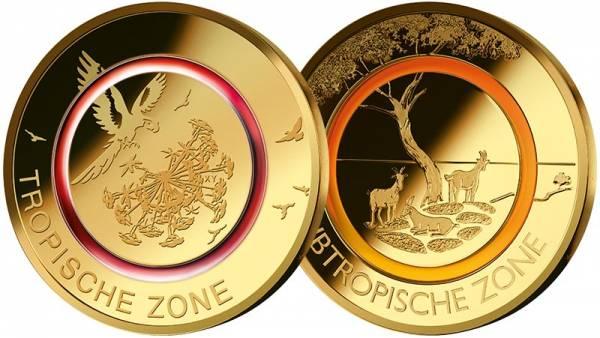 5 Euro BRD Set Tropische Zone und Subtropische Zone 2017 + 2018 vollvergoldet