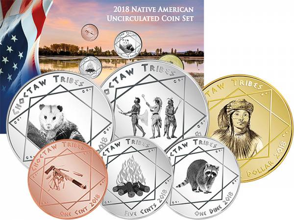 1 Cent - 1 Dollar USA Kursmünzen der Choctaw 2018
