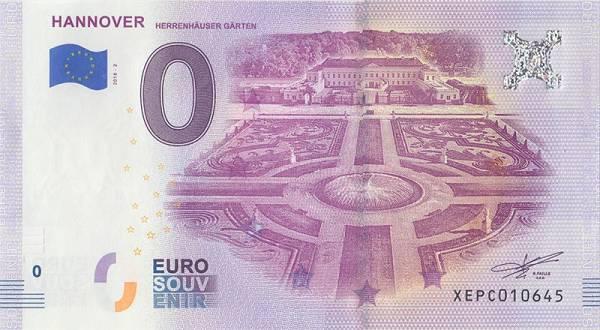 0-Euro-Banknote Herrenhäuser Gärten Hannover 2018
