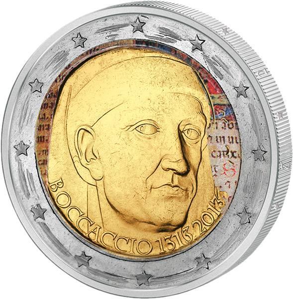 2 Euro Italien 700. Geburtstag Giovanni Boccaccio  mit Farb-Applikation 2013 prägefrisch