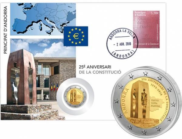 2 Euro Numisbrief Andorra 25 Jahre Verfassung 2018