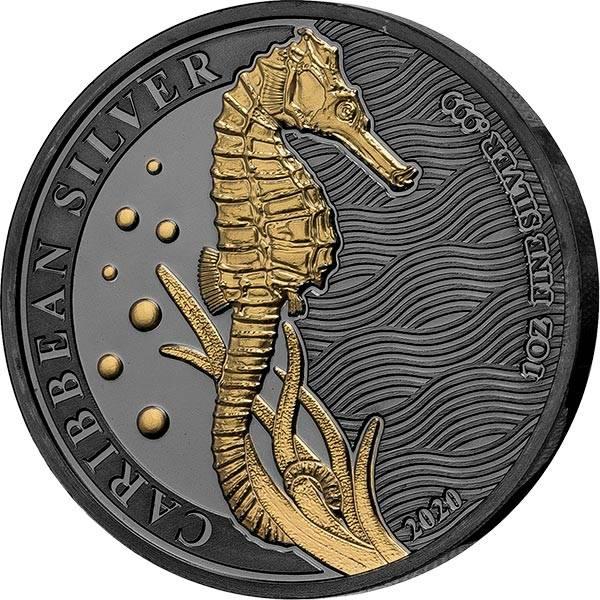 1 Unze Silber Barbados Seepferd 2020 Golden Enigma Edition