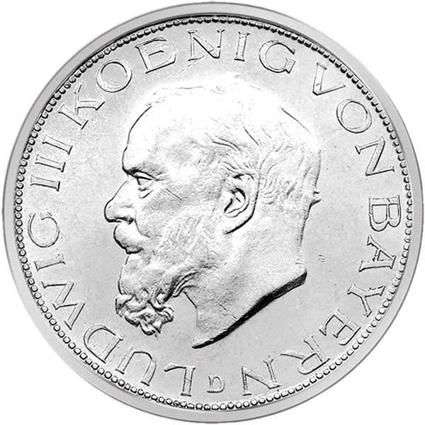 3 Mark Bayern Ludwig III. 1914 D Vorzüglich