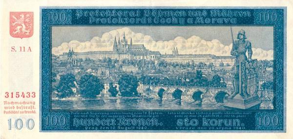 100 Kronen Prag 1940 Schön