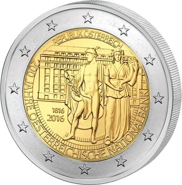 2 Euro Österreich 200 Jahre Nationalbank 2016 prägefrisch