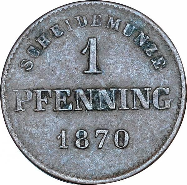 1 Pfennig Bayern König Ludwig II. 1865 - 1871