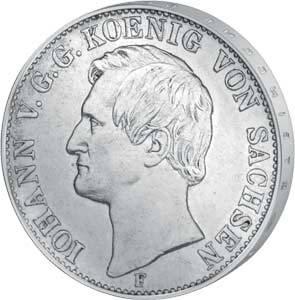 Taler Sachsen König Johann 1857-1859 Sehr schön