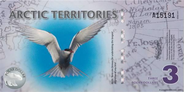 3 Dollars Arktische Territorien Banknote Seeschwalbe Roald Amundsen 2011