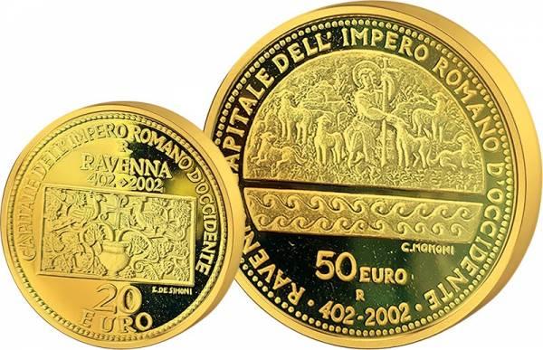 20 + 50 Euro San Marino 1.600 Jahre Ravenna 2002