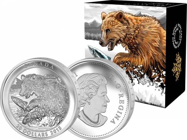 20 Dollars Kanada Grizzlybär der Fang 2015