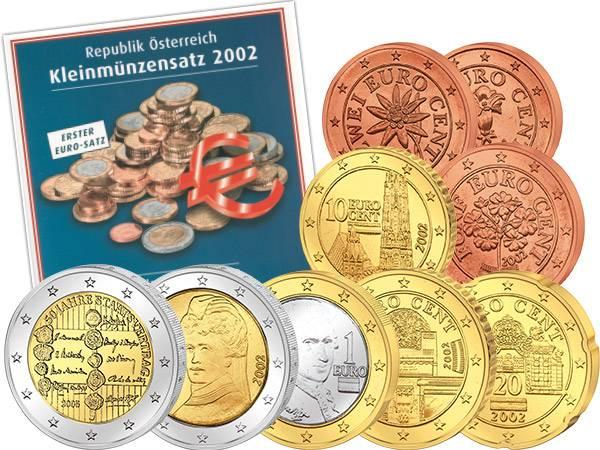 Euro-Kursmünzensatz Österreich 2002 + 2 Euro Österreich  50 Jahre Staatsvertrag 2005