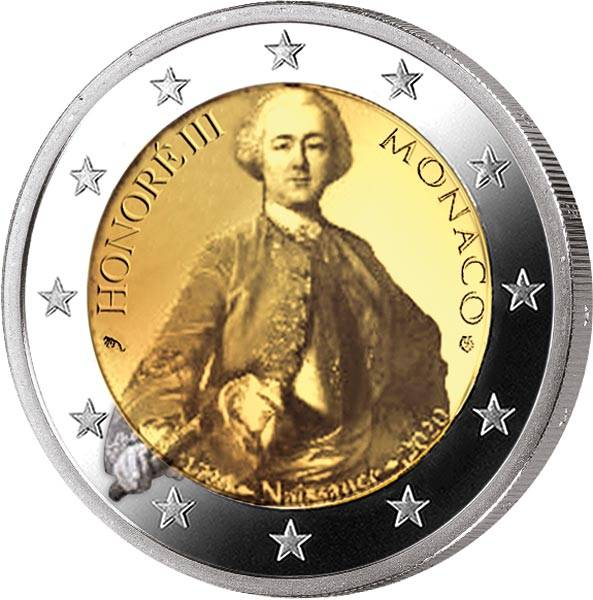 2 Euro Monaco 300. Geburtstag von Fürst Honorè III. 2020