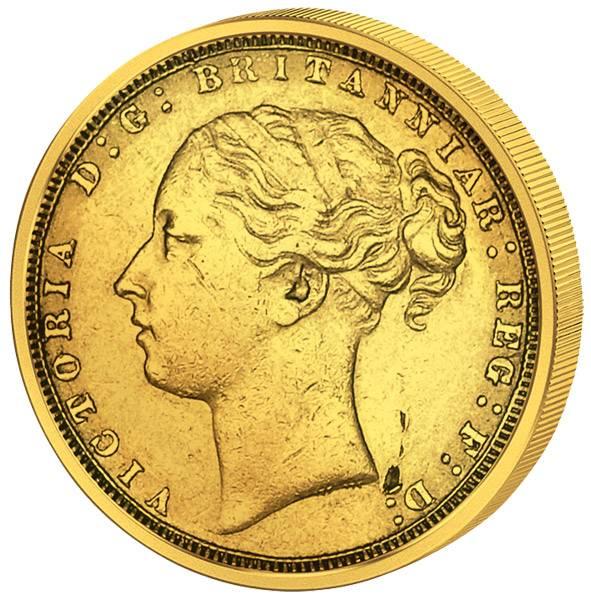 1 Sovereign Großbritannien junges Portrait Queen Victoria 1871-1887 Sehr schön