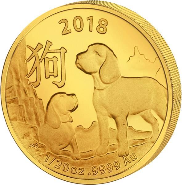 1/20 Unze Gold Australien Jahr des Hundes 2018