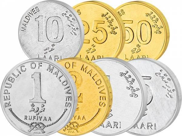 1 Laari - 2 Rufiyaa Malediven Kursmünzensatz 1984-2012