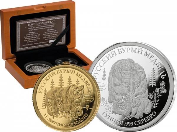 1.000 + 3.000 Francs Tschad Russisches Braunbär Set 2020