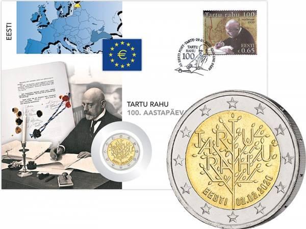 2 Euro Numisbrief Estland 100 Jahre Frieden von Tartu 2020