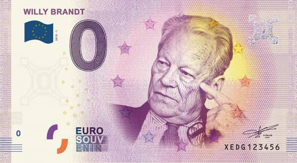 0-Euro-Banknote Willy Brandt 2018