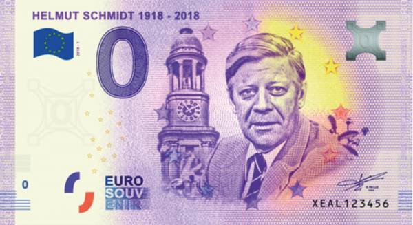 0-Euro-Banknote Helmut Schmidt 2018